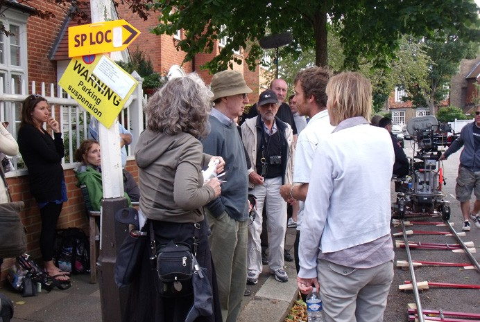 Woody Allen during filming in the borough