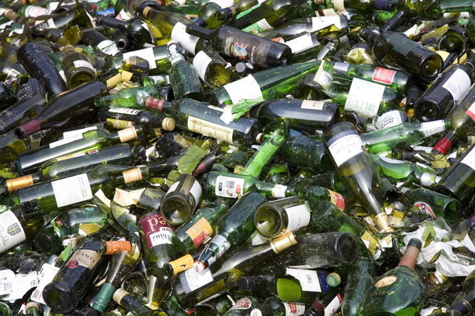Glass bottles for recycling - one type of recycling taken as part of the new service for local businesses