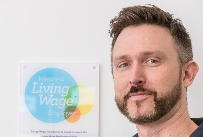 Keith Dowling of Post and Packing, which is a Living Wage employer