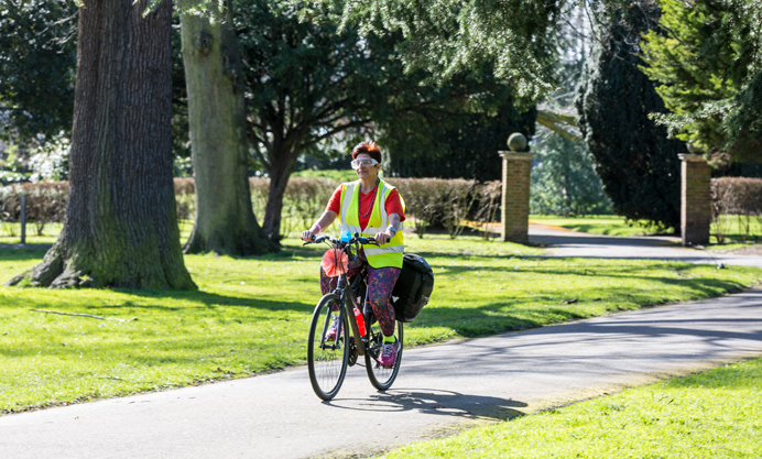 Preeti King, cycling in Southall Park