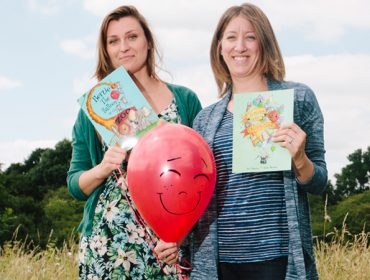 Illustrator Aneta Neuman and author Kim Robinson with Bertie the Balloon and books
