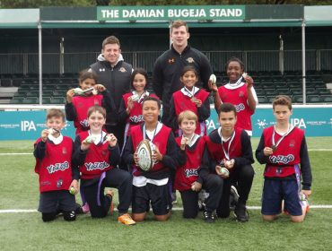 Winners St Vincent's Catholic Primary from West Acton with players Arthur Ellis and Willie Ryan