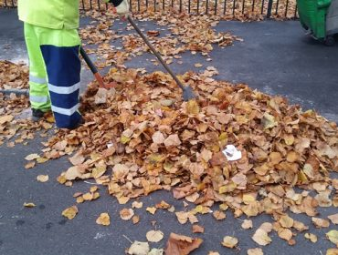 Autumn - Street sweepers clearing away fallen leaves