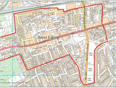 Map of West Ealing showing the PSPO area, as per the consultation. Contains OS data © Crown copyright and database right 2016