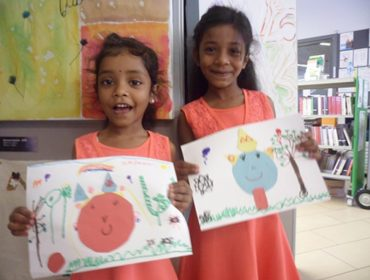 Sisters Kavinela and Kaninela Tharmakulasingam at Northolt Leisure Library