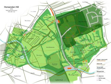 Horsenden Hill: A hybrid-historical map with historical detail overlaid on a modern map. Copyright of Nick Horgan 2016