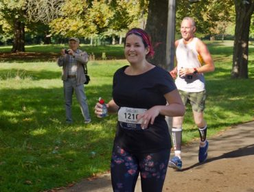 Christina Kerry running the Ealing Half Marathon 2017. She won the race place through Ealing News Extra