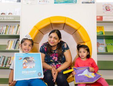 Libraries run the Bookstart programme. Sarabjit and her children enjoyed taking part
