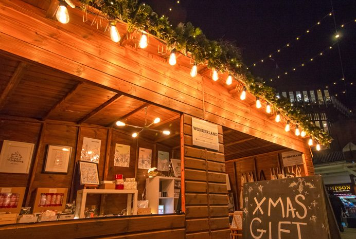 Christmas market in Ealing - go along to see the gifts and food on offer from the wooden cabins
