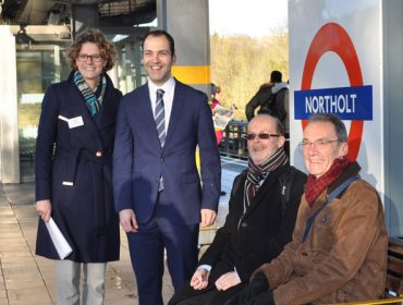 Caroline Sheridan, London Underground's director of renewals and enhancements; Councillor Mahfouz; Gordon Deuchars, policy and campaigns manager at Age UK London; and David Muir, chaimanr of Age UK Ealing