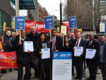A petition signed by 22,363 residents against plans to close Accident and Emergency departments at Ealing and Charing Cross hospitals is handed to the Department of Health.