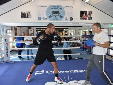 James DeGale at the opening of Powerday Hooks Amateur Boxing Club in Acton