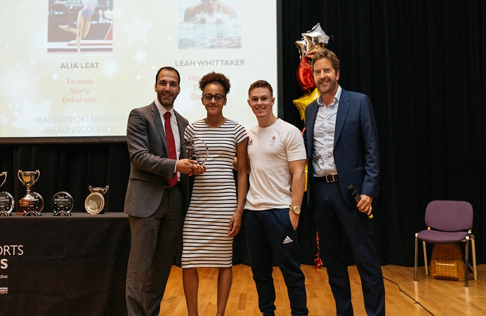 Junior Sports Person of the Year, Leah Whittaker with Councillor Mahfouz (left), Brinn Bevan and Marcus Buckland (right)