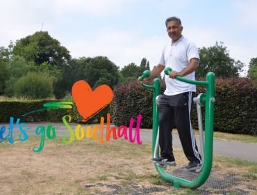 Janpal Basran in Southall Park using the oudoor gym equipment - Let's Go Southall programme is under way