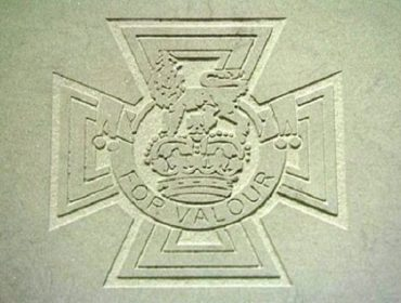Paving slab with image of Victoria Cross