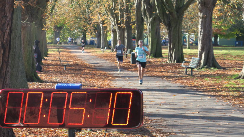 The Ealing Mile - runners heading for the finish line in Lammas Park