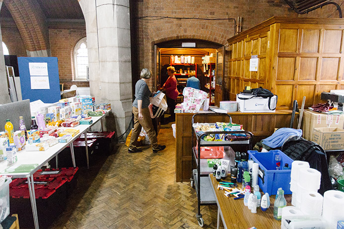 Volunteers helping to distribute donations at Hanwell centre of Ealing Foodbank