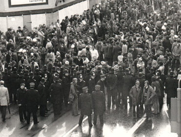 Crowds build before the Southall riots