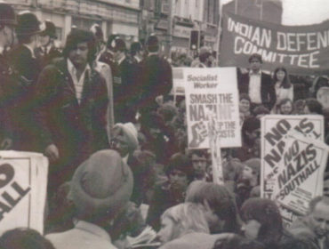 Peaceful protest outside Southall Police Station in 1979 the day before Southall riots took place