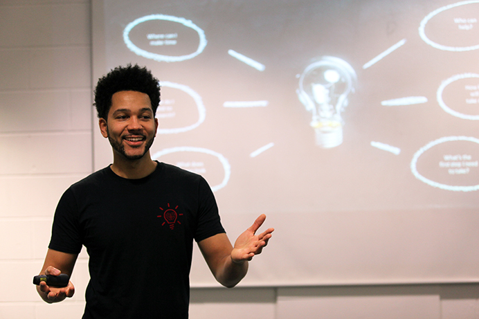 Anthony Bennett, giving motivational talks at Greenford High