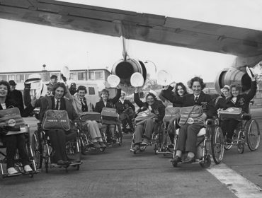 Para-athletes on their way to the 1964 Tokyo Paralympic Games courtesy of Getty Images