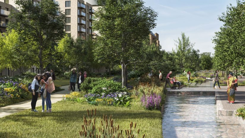 Southall Waterside Linear Park CGI picture