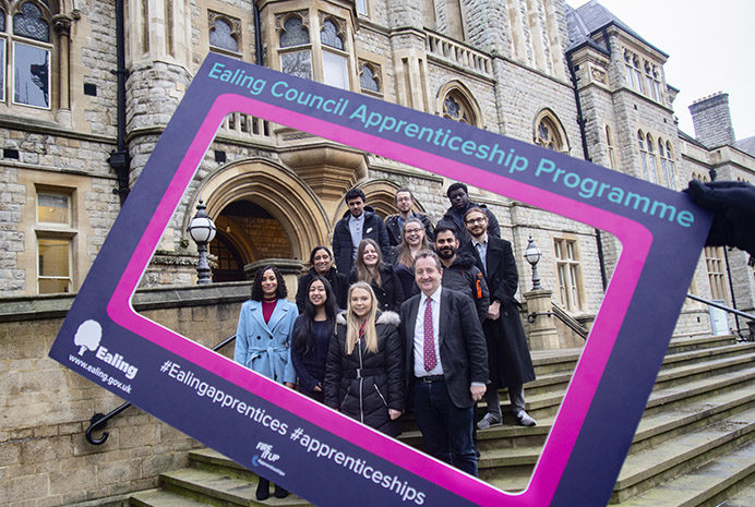Council leader Julian Bell and the mayor of Ealing Councillor Gulaid with council apprentices