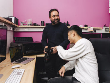 Photographer and film-maker Shaminder with his apprentice Selin at Surindera Studios