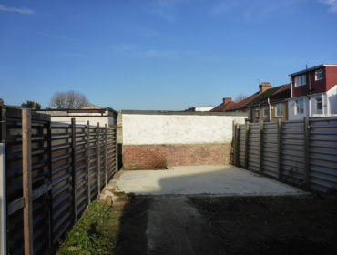 Cleared site after outbuilding demolished