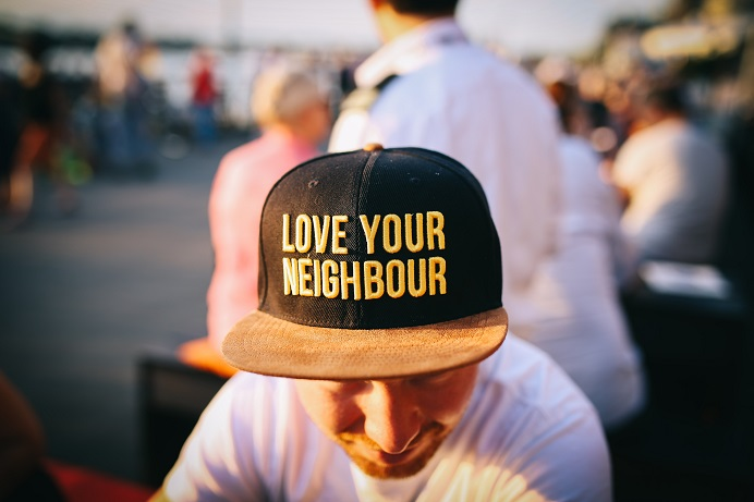 Baseball cap with love your neighbour