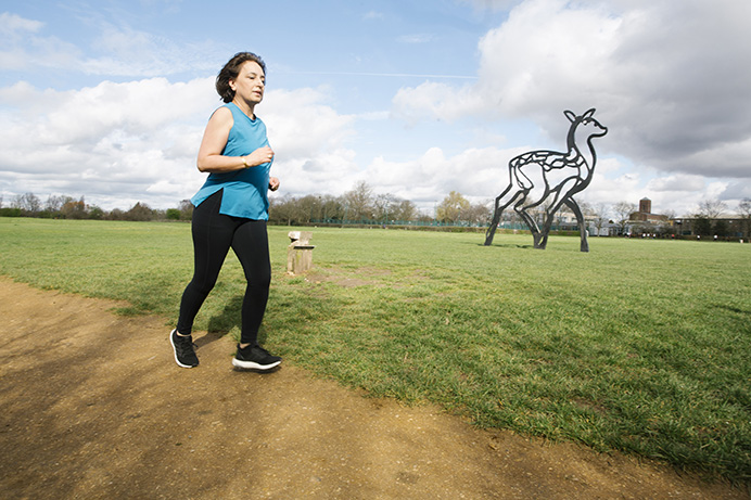 Councillor Binda Rai, running in Elthorne Park - get moving, keep active