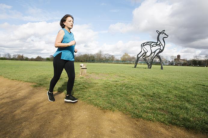 Councillor Binda Rai, running in Elthorne Park - get moving, keep active
