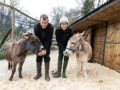 Hanwell Zoo keepers Annie and Dave with mini donkeys