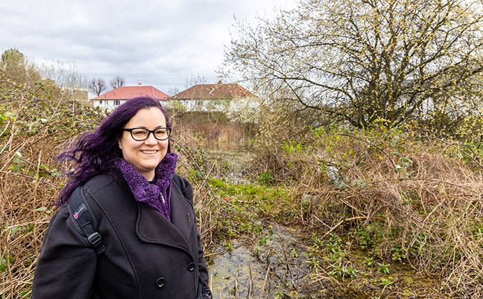 Caroline Farrow from Ealing Wildlife Group in the former allotments in Costons lane, Greenford