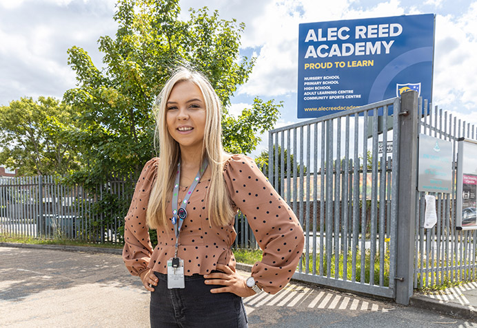 Council apprentice Olivia Rooney – starting a job at Alec Reed Academy, Northolt