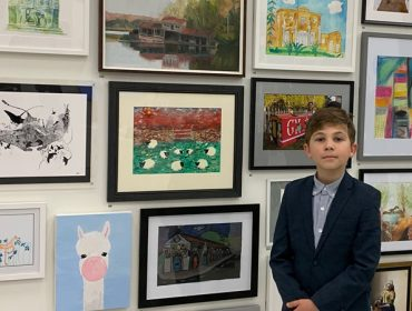 Edward Tabarac of Hanwell with his artwork at the Royal Academy of Arts Young Artists Summer Show exhibition