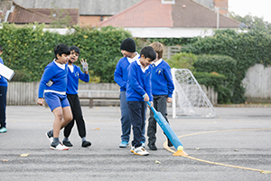 St Anselm's Primary School pupils enjoying football - sports participation has increased hugely