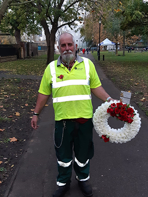 Allen Ruane from the GEL grounds maintenance team, laying the wreath at Ealing War Memorial for Remembrance