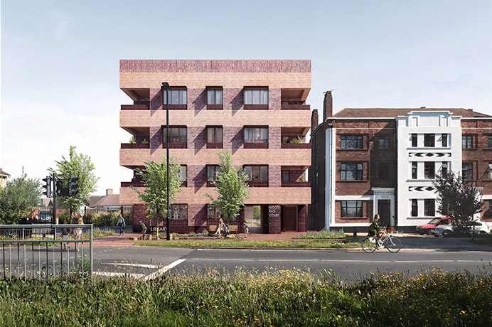 Artist's impression of the Wood End homes