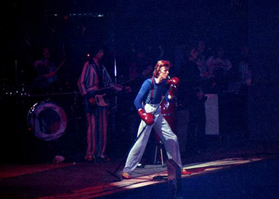 David Bowie performing on the Diamond Dogs tour - photo by Hunter Desportes via Wikicommons