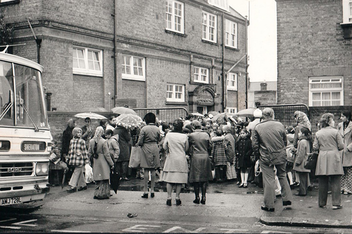 A protest outside a Southall school against bussing in - taken around 1970