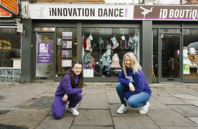 Emma and Student Amber outside Innovation Dance Studio