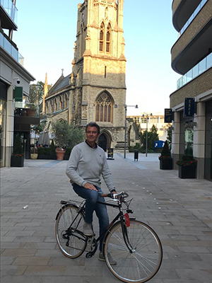 Andrea Messa on one of his bikes in Dickens Yard