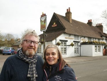 Derek and Ushma outside the Plough
