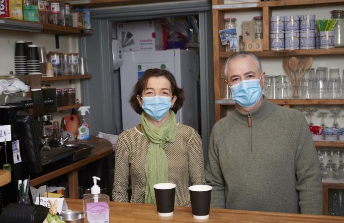 Tiramisu Cafe Owners wearing face masks