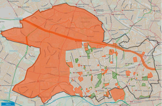 Map showing areas where e-scooter travel is not permitted in orange